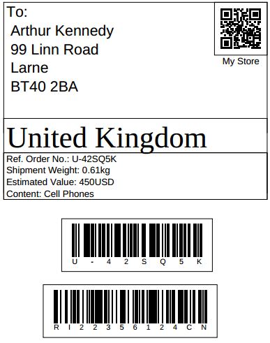 shipping label example