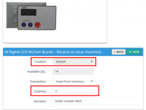 Issue inventory to customer order